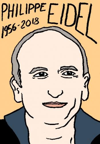 mort de philippe eidel, dessin, portrait, laurent jacquy,répertoire des macchabées célèbres,mort d'homme,
