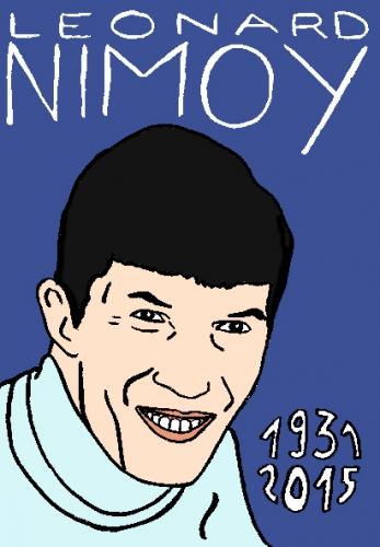 mort de leonard nimoy, dessin, portrait, laurent jacquy,répertoire des macchabbées célèbres, mort d(homme