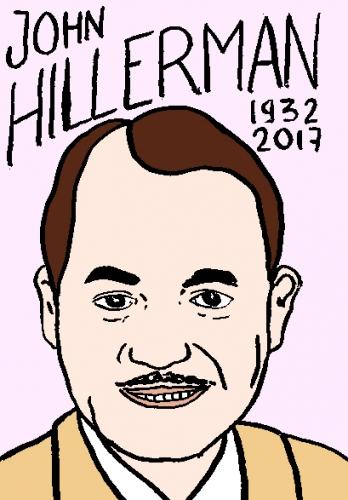 mort de john hillerman, dessin, portrait, laurent jacquy,répertoire des macchabées célèbres,mort d'homme,