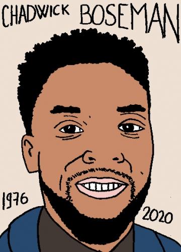 mort de Chadwick Boseman, dessin, portrait, laurent jacquy,répertoire des macchabées célèbres,mort d'homme,