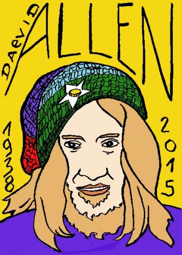 mort de david allen, dessin, portrait, laurent jacquy,répertoire des macchabbées célèbres, visage,mort d'homme