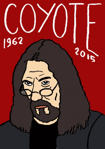 mort de coyote, dessin, portrait, laurent jacquy,répertoire des macchabbées célèbres, visage,mort d'homme