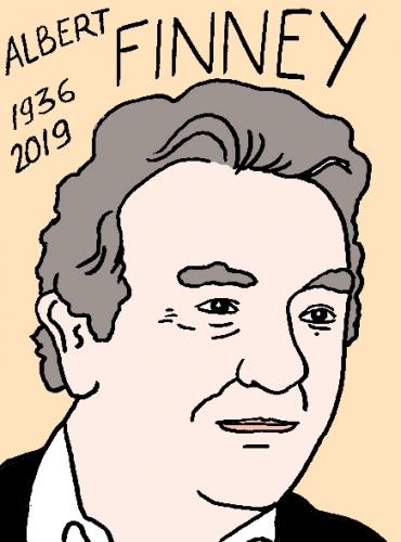 mort d'albert Finney, dessin, portrait, laurent jacquy,répertoire des macchabées célèbres,mort d'homme,