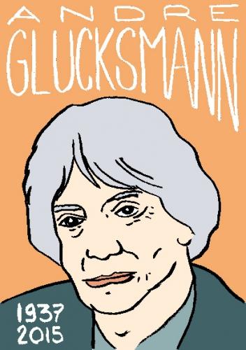 mort d'andré Glucksmann, dessin, portrait, laurent jacquy,répertoire des macchabées célèbres,mort d'homme,