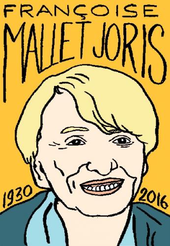 mort de françoise Mallet-Joris, dessin, portrait, laurent jacquy,répertoire des macchabées célèbres,mort d'homme,