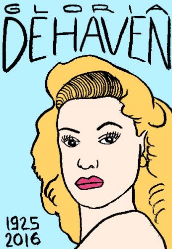 mort de gloria dehaven, dessin, portrait, laurent jacquy,répertoire des macchabées célèbres,mort d'homme,