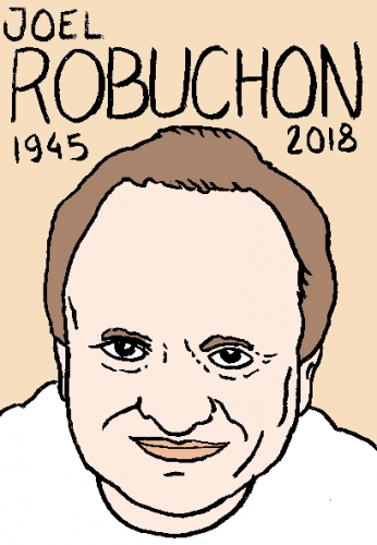 mort de Joel Robuchon, dessin, portrait, laurent jacquy,répertoire des macchabées célèbres,mort d'homme,