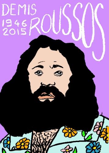 mort de Demis Roussos, dessin, portrait, laurent jacquy,répertoire des macchabbées célèbres, mort d(homme