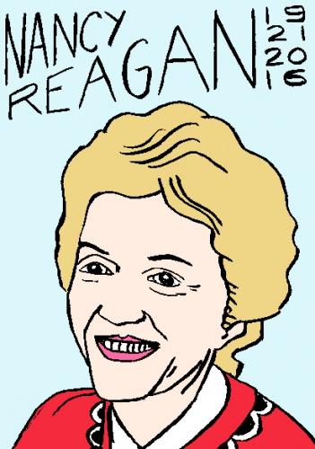 mort de nancy reagan, dessin, portrait, laurent jacquy,répertoire des macchabées célèbres,mort d'homme,