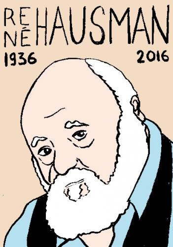 mort de rené hausman, dessin, portrait, laurent jacquy,répertoire des macchabées célèbres,mort d'homme,