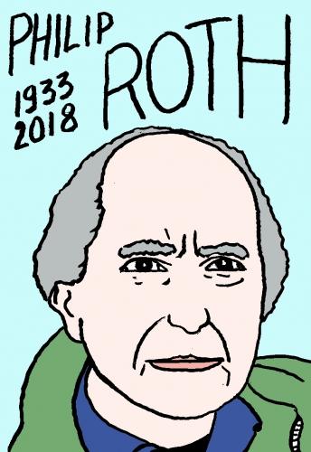 mort de Philip Roth, dessin, portrait, laurent jacquy,répertoire des macchabées célèbres,mort d'homme,