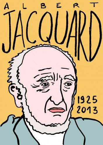 Albert Jacquard,dessin,portrait,laurent jacquy,art modeste,art singulier,les beaux dimanches,mort d'homme