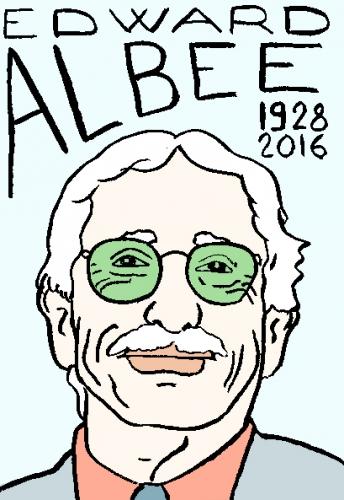 mort d'edward albee, dessin, portrait, laurent jacquy,répertoire des macchabées célèbres,mort d'homme,