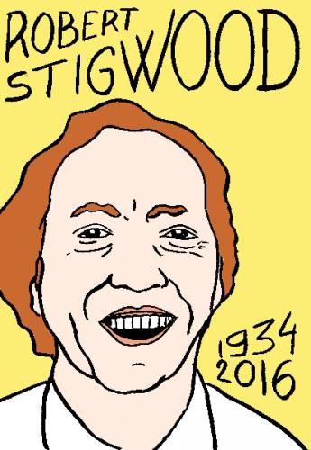 mort de robert stigwood, dessin, portrait, laurent jacquy,répertoire des macchabées célèbres,mort d'homme,