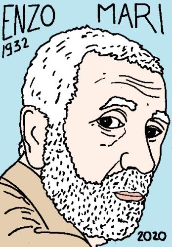 mort d'Enzo Mari, dessin, portrait, laurent jacquy,répertoire des macchabées célèbres,mort d'homme,