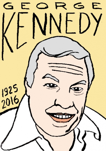 mort de george kennedy, dessin, portrait, laurent jacquy,répertoire des macchabées célèbres,mort d'homme,