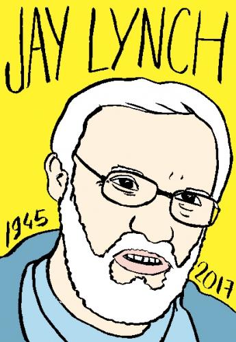 mort de jay Lynch, dessin, portrait, laurent jacquy,répertoire des macchabées célèbres,mort d'homme,