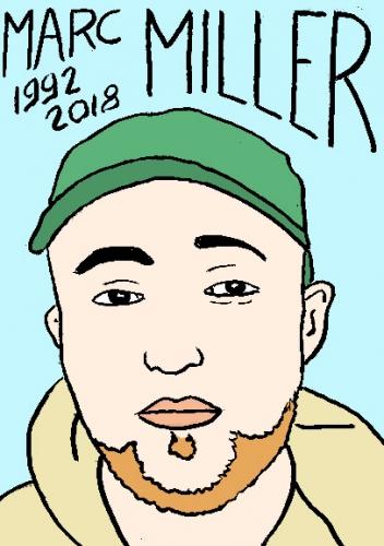 mort de Marc Miller, dessin, portrait, laurent jacquy,répertoire des macchabées célèbres,mort d'homme,