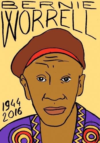 mort de bernie worrell, dessin, portrait, laurent jacquy,répertoire des macchabées célèbres,mort d'homme,