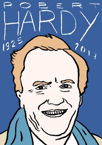 mort de Robert Hardy, dessin, portrait, laurent jacquy,répertoire des macchabées célèbres,mort d'homme,