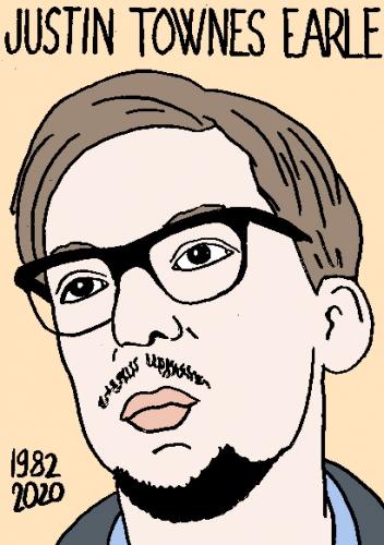 mort de Justin Townes Earle, dessin, portrait, laurent jacquy,répertoire des macchabées célèbres,mort d'homme,