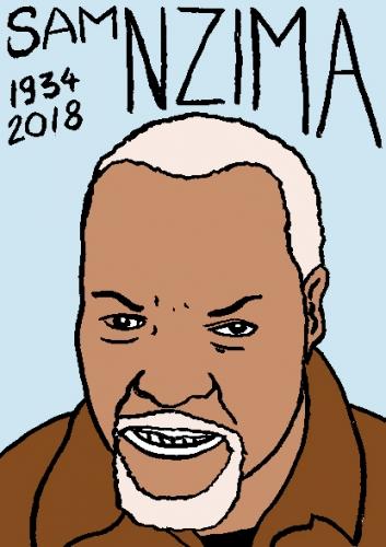 mort dsam Nzima, dessin, portrait, laurent jacquy,répertoire des macchabées célèbres,mort d'homme,