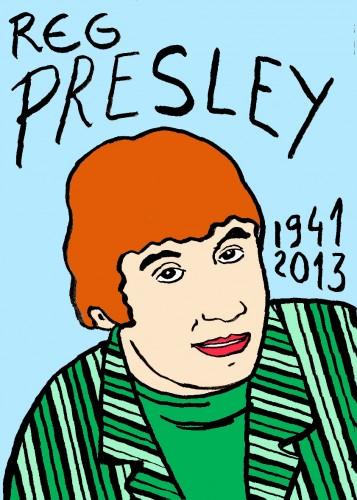 Reg Presley,Portrait,dessin,laurent Jacquy,french Outsideur,Célébrité,mort,répertoire des macchabées célèbres,décés,mort d'homme,illustrateur,illustration,Les Beaux Dimanches