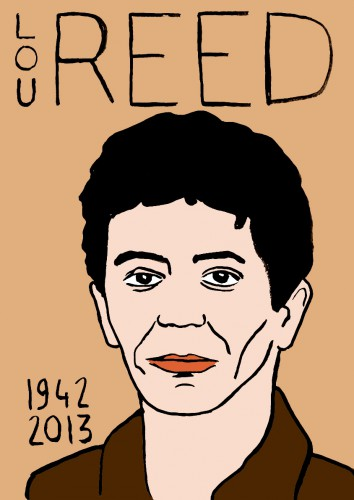 Mort de Lou Reed,dessin,portrait,laurent jacquy,mort d'homme,répertoire des macchabées célèbres,art modeste,art singulier
