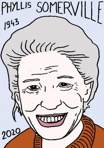 mort de Phyllis somerville, dessin, portrait, laurent jacquy,répertoire des macchabées célèbres,mort d'homme,