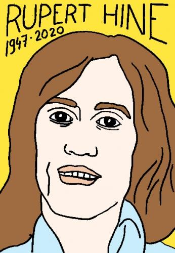 mort de Rupert Hine, dessin, portrait, laurent jacquy,répertoire des macchabées célèbres,mort d'homme,