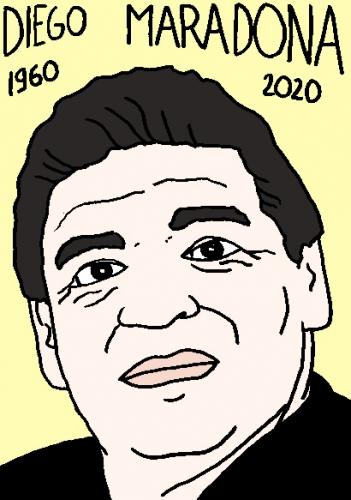 mort de Diégo Maradona, dessin, portrait, laurent jacquy,répertoire des macchabées célèbres,mort d'homme,