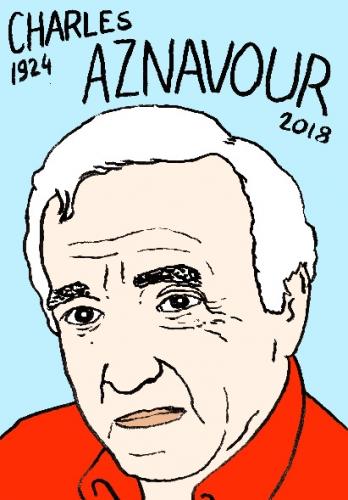 mort de charles aznavour dessin, portrait, laurent jacquy,répertoire des macchabées célèbres,mort d'homme,