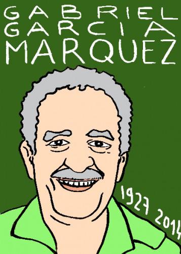 mort de gabriel garcia marquez,dessin,portrait,laurent jacquy,répertoire des macchabées,célèbres