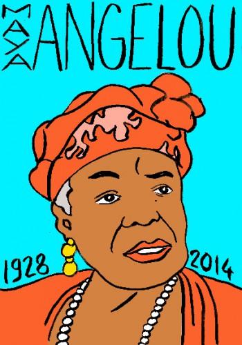 Mort de Maya Angelou,portrait,dessin,laurent jacquy,répertoire des macchabées célèbre,poésie,droits civiques