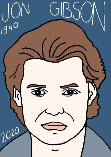 mort de Jon Gibson, dessin, portrait, laurent jacquy,répertoire des macchabées célèbres,mort d'homme,
