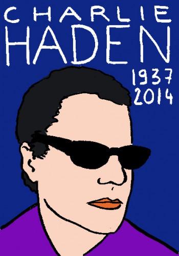 Mort de Charlie haden,dessin,portrait,laurent jacquy,répertoire des macchabées célèbres