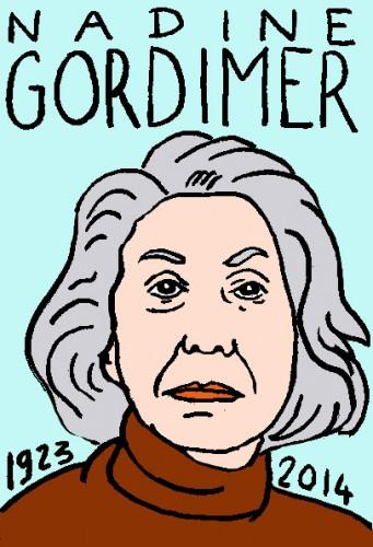 mort de nadine gordimer,dessin,portrait,laurent jacquy,répertoire des macchabées célèbres