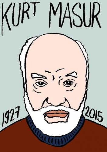 mort de kurt masur, dessin, portrait, laurent jacquy,répertoire des macchabées célèbres,mort d'homme,