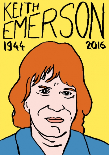 mort de keith emerson, dessin, portrait, laurent jacquy,répertoire des macchabées célèbres,mort d'homme,