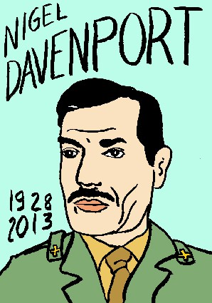mort de Nigel Davenport,dessin,portrait,laurent jacquy,mort d'homme,répertoire des macchabées célèbres,art modeste