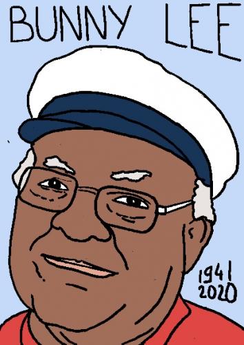mort de Bunny Lee, dessin, portrait, laurent jacquy,répertoire des macchabées célèbres,mort d'homme,