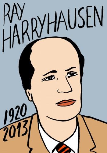 Ray Harryhausen,portrait,dessin,laurent jacquy,art modeste,art singulier,les beaux dimanches