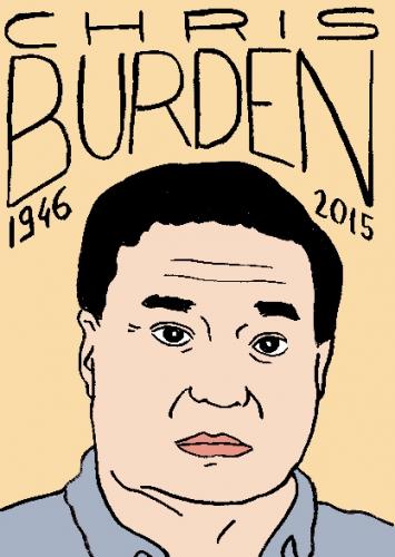 mort de chris burden, dessin, portrait, laurent jacquy,répertoire des macchabbées célèbres, visage,mort d'homme