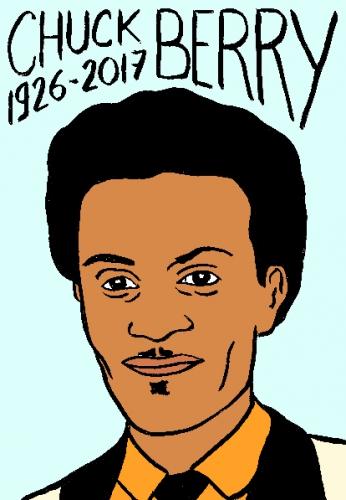 mort de chuck berry, dessin, portrait, laurent jacquy,répertoire des macchabées célèbres,mort d'homme,
