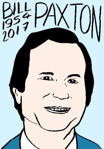 mort de bill paxton, dessin, portrait, laurent jacquy,répertoire des macchabées célèbres,mort d'homme,