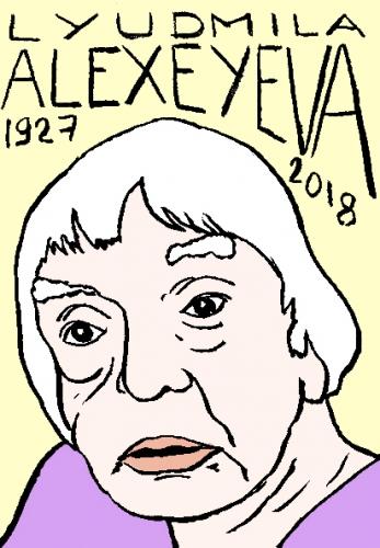 mort de Lyudmila Alexeyeva, dessin, portrait, laurent jacquy,répertoire des macchabées célèbres,mort d'homme,