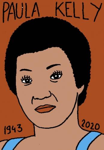 mort de Paula Kelly, dessin, portrait, laurent jacquy,répertoire des macchabées célèbres,mort d'homme,