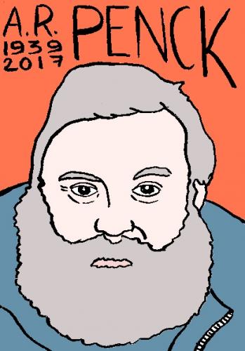 mort d'A.R. Penck, dessin, portrait, laurent jacquy,répertoire des macchabées célèbres,mort d'homme,