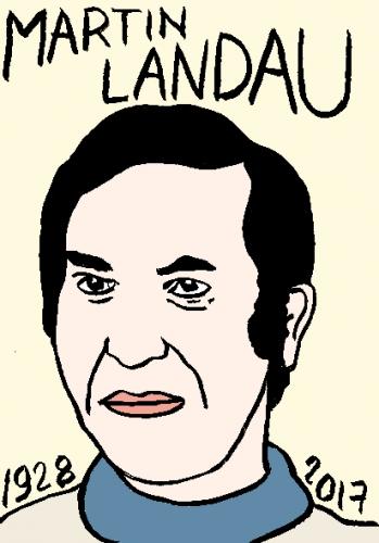 mort de martin Landau, dessin, portrait, laurent jacquy,répertoire des macchabées célèbres,mort d'homme,