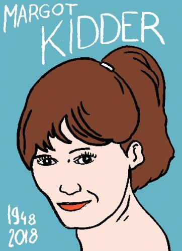 mort de margot Kidder, dessin, portrait, laurent jacquy,répertoire des macchabées célèbres,mort d'homme,